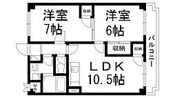 アメニティ東香里[0303号室]の間取り