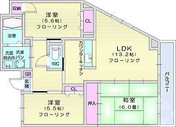 ツキタビル 2階3LDKの間取り