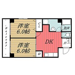 千葉県千葉市中央区新町の賃貸マンションの間取り