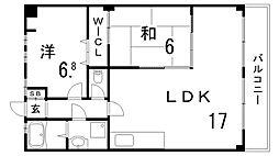 大和マンション[4階]の間取り