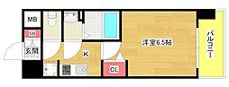 プレミアムコート阿波座WEST 13階1Kの間取り