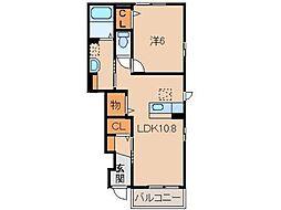 JR和歌山線 打田駅 徒歩18分の賃貸アパート 1階1LDKの間取り