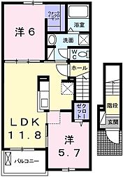 H・Tミニョン姫路[202号室]の間取り