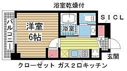エステムコート神戸元町IIリザーブ 1階1Kの間取り