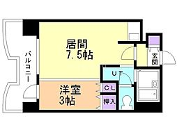 札幌ビオス館 4階1DKの間取り