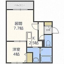 北海道札幌市白石区栄通16の賃貸マンションの間取り
