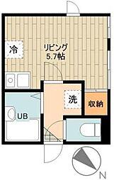 S casa 3階ワンルームの間取り
