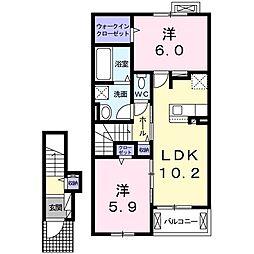 つくばエクスプレス 柏たなか駅 徒歩14分の賃貸アパート 2階2LDKの間取り