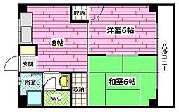 広島県安芸郡海田町曙町の賃貸マンションの間取り