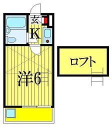 千葉県習志野市津田沼3丁目の賃貸アパートの間取り