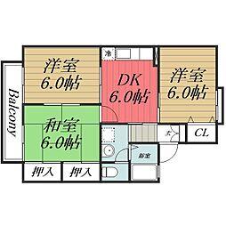 千葉県千葉市若葉区みつわ台2丁目の賃貸アパートの間取り