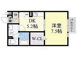 南海高野線 萩原天神駅 徒歩7分の賃貸アパート 2階1DKの間取り