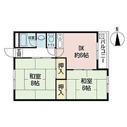 ハイツヒサシ2階Fの間取り画像