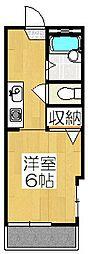 京都府京都市北区上賀茂豊田町の賃貸アパートの間取り