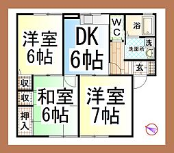 神奈川県大和市西鶴間3丁目の賃貸アパートの間取り