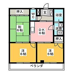 レインボー勝川[1階]の間取り
