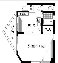 東京都中野区江古田2丁目の賃貸マンションの間取り