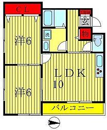 埼玉県三郷市三郷2丁目の賃貸アパートの間取り
