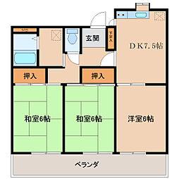 埼玉県坂戸市浅羽野1丁目の賃貸アパートの間取り