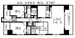 大阪府大阪市中央区上本町西5丁目の賃貸マンションの間取り