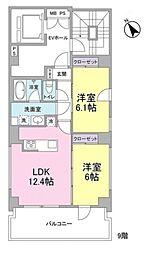 虎ノ門A&K IP ビル 9階2LDKの間取り