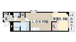 愛知県名古屋市名東区香流1丁目の賃貸アパートの間取り