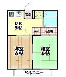 サンキストハウス 2階2DKの間取り