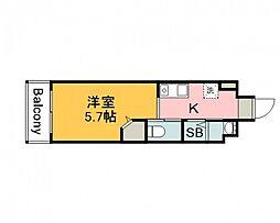 JR芸備線 矢賀駅 徒歩8分の賃貸マンション 8階1Kの間取り