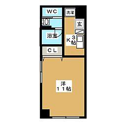 東急東横線 代官山駅 徒歩3分の賃貸マンション 4階1Kの間取り