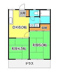 埼玉県所沢市西狭山ケ丘2丁目の賃貸アパートの間取り
