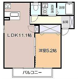 サニーフラットK[1階]の間取り