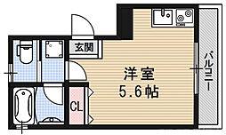 ロフティ伏見稲荷駅前 3階ワンルームの間取り