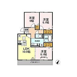 仮)D-room御殿場二枚橋 1階3LDKの間取り