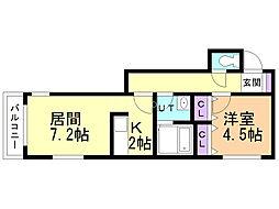 アヴァンツァーレ 2階1DKの間取り