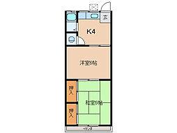 近鉄志摩線 志摩赤崎駅 徒歩8分の賃貸アパート 2階2Kの間取り