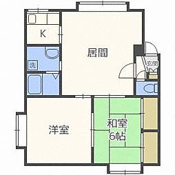 北海道札幌市白石区中央二条6丁目の賃貸アパートの間取り
