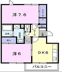 グランディール矢三A[1階]の間取り