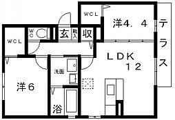メルベーユ・メゾン土師ノ里[201号室号室]の間取り
