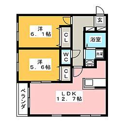 ヒルトップYKC[2階]の間取り