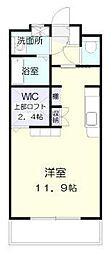 ラフィーネ桜館 1階ワンルームの間取り