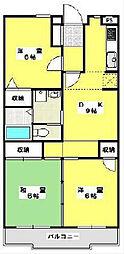 千葉県柏市西原6の賃貸マンションの間取り