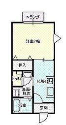 JR山形新幹線 山形駅 バス18分 青田バス停下車 徒歩6分の賃貸アパート 1階1Kの間取り