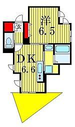シャロン市川真間 1階1DKの間取り