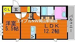 South Wing 2階1LDKの間取り