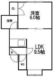 北海道札幌市手稲区稲穂一条7の賃貸アパートの間取り