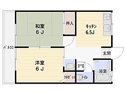 シティハイム ラ・エストA 2階2DKの間取り