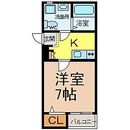 愛知県名古屋市中区新栄1丁目の賃貸アパートの間取り