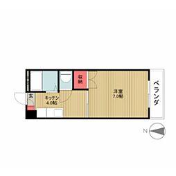 愛知県名古屋市天白区元八事4丁目の賃貸アパートの間取り