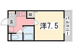 兵庫県姫路市白国3丁目の賃貸マンションの間取り
