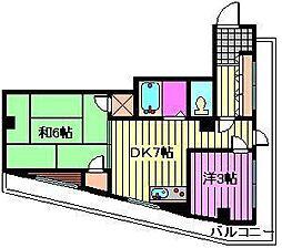 第32北大宮ハイツ[4階]の間取り